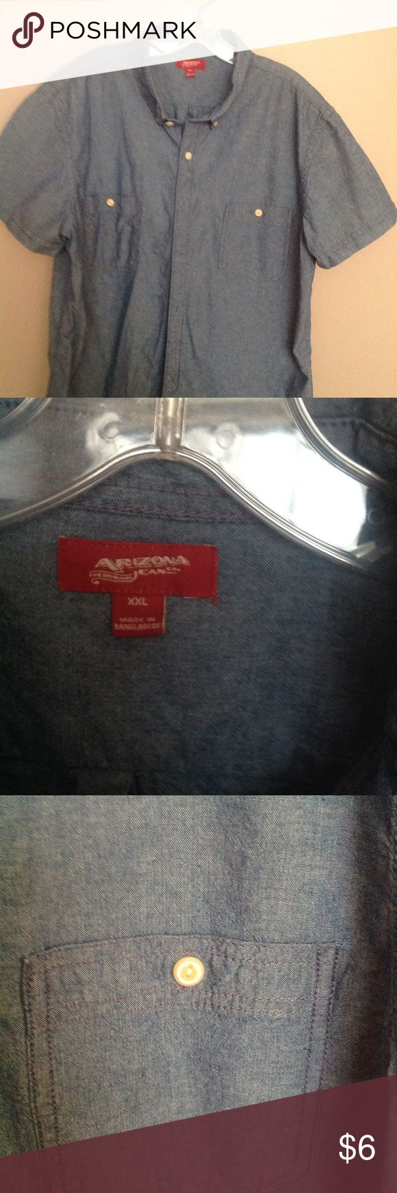 Men's short sleeve denim shirt Brand new never worn just wrinkled from storage light denim button down casual dress shirt. No ripping tears stains or discoloration. All my clothes come from a smoke free house. Please ask if any questions. Arizona Jean Company Shirts Casual Button Down Shirts