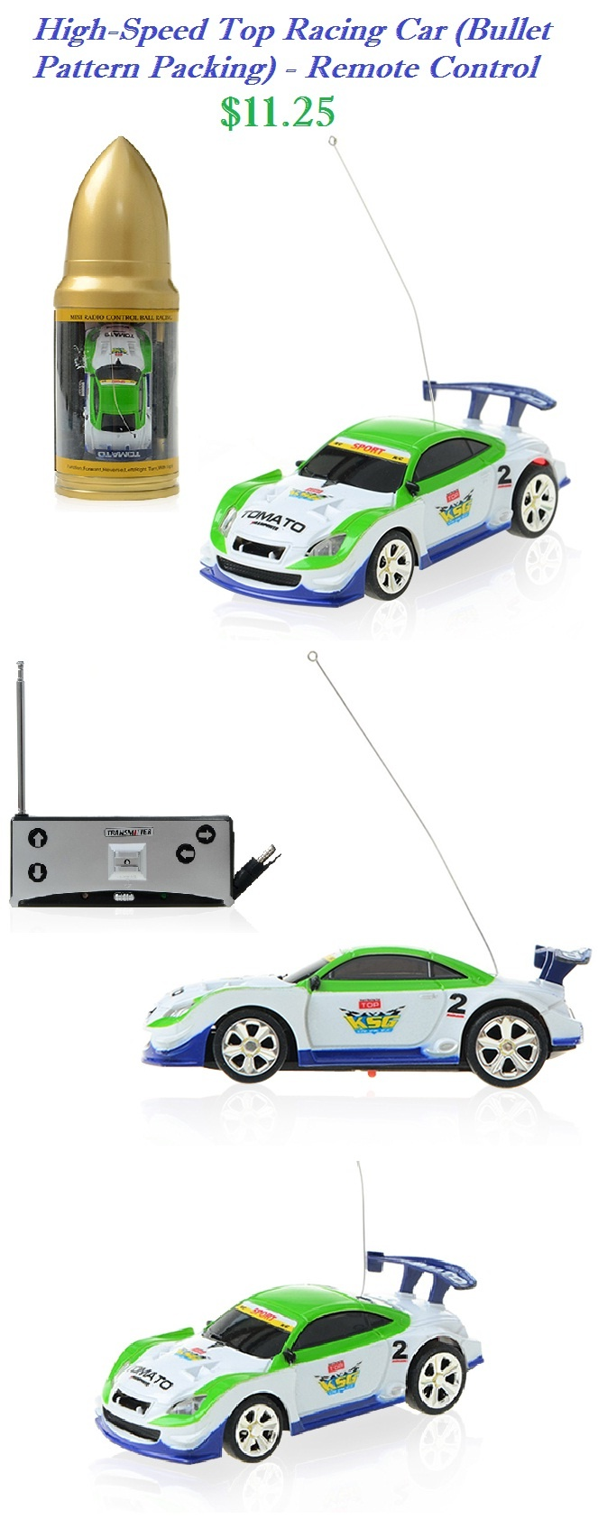 RC TOYS - High-Speed Top Racing Car (Bullet Pattern Packing) - Remote Control - Green #rctoys #racing #car #remote #control $11.25