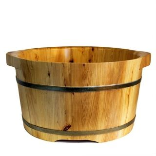 For thousands of years, the wooden style spa tubs have been famous for their therapeutic wonder.  Cedar wood provides a natural insulating value which can not be found in regular plastic or acrylic soak barrels.Tubs are re-enforced by two electro-plated iron wraps for durability and applied with black and gold paint to create a rustic classic look.  To clean, simply use a fresh towel with hot water and mild soap. Keep the cask clean after every use to ensure a long lasting finish. Height: 21…