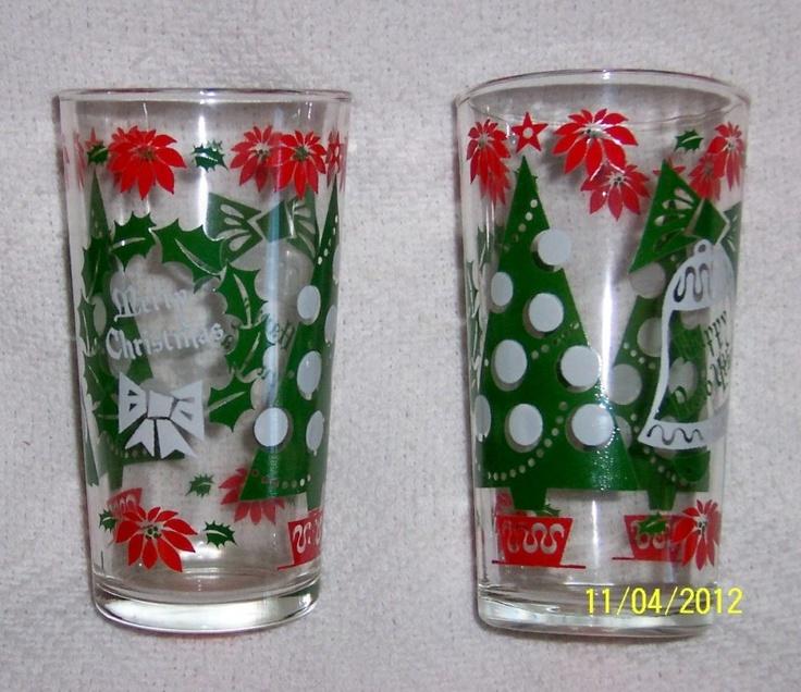 Vintage 1950s Christmas Glasses,