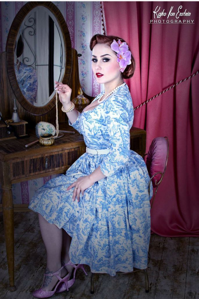Katie Pin Up Dress in Blue Toile