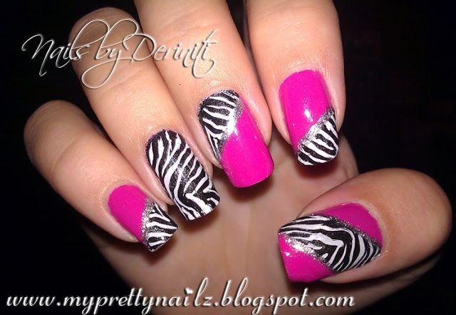 My Pretty Nailz: Fun Zebra Print Konad Nail Art Stamping Design - Animal Print Nail Art, Zebra Print Nails, Zebra Nails, Pink and Zebra Nail Art, Urban Nail Art, Pink Zebra Print Nails
