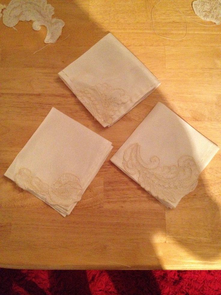 Handkerchiefs  from moms old wedding dress