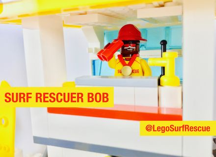 Bob in the Surf Rescue patrol tower. Vote for a #SunSmart #Lego set starring heroes wearing sunscreen at http://bit/ly/legosurfrescue. #Legoideas #Melanoma #SkinCancer #Cancer #Australia #SurfLifeSaving