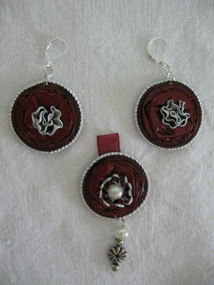Ciondolo rosso con orecchini grandi - fatti con capsule Nespresso