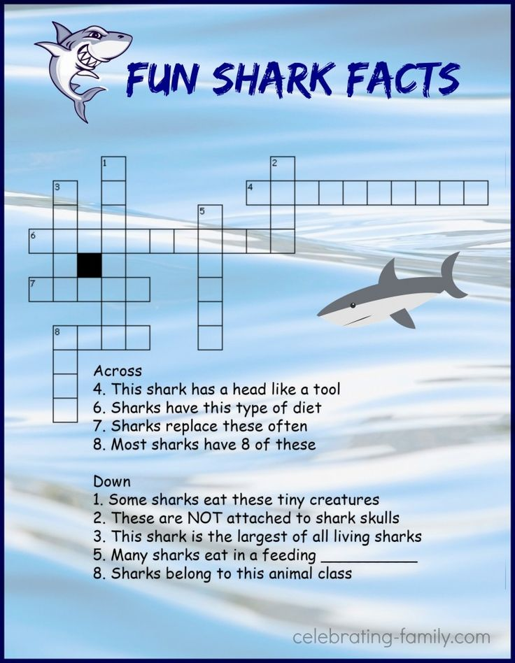 Shark Week Crossword Puzzle Activity                                                                                                                                                     More