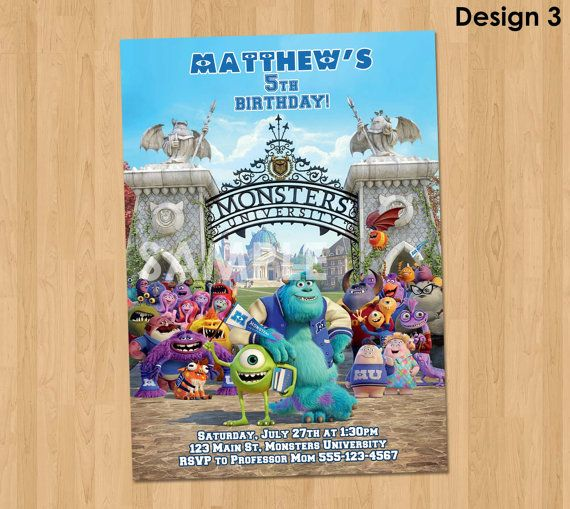 Monsters University Birthday Invitation - Monsters University Invitation - Monsters University Party Printable - Monsters Inc Invitation