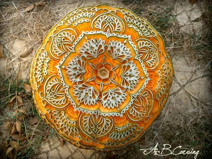Mandala pumpkin art carving by Angel Boraliev, Bulgaria
