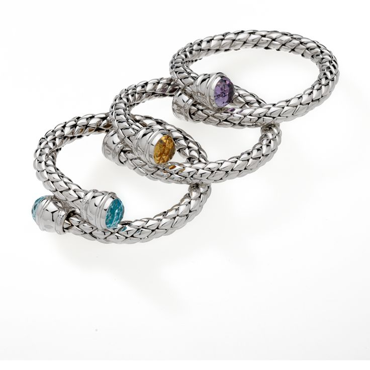 CHIMENTO Stretch HD Silver bracelets with amethyst, cognac quartz and topaz.