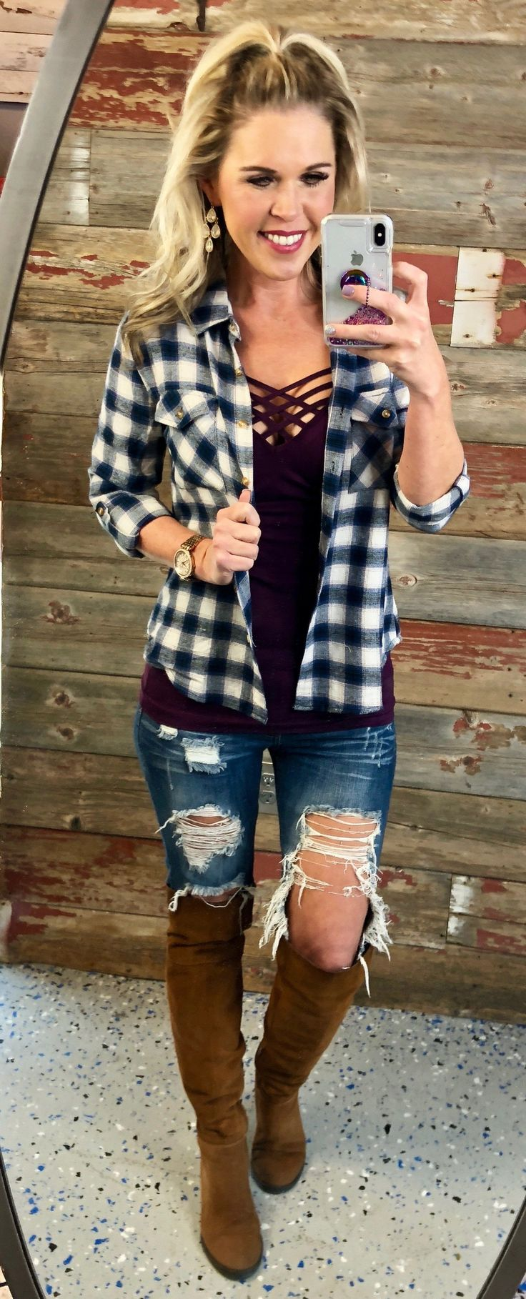 Cabin Fever Plaid Flannel Top from privityboutique