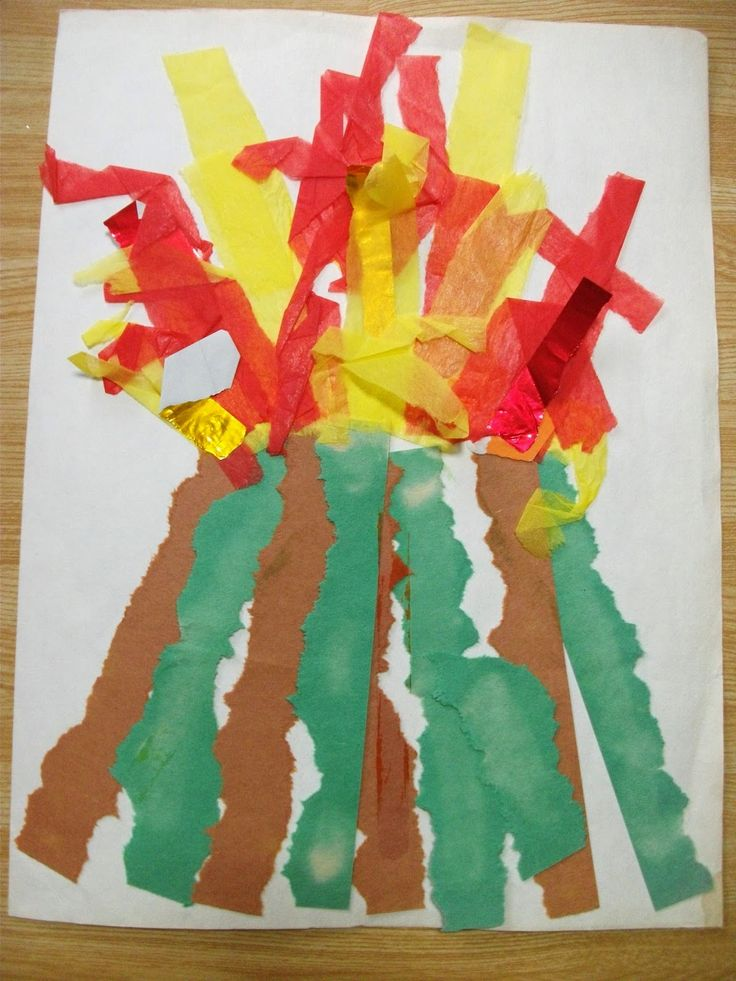 Preschool Crafts for Kids*: Paper Strips Volcano Craft