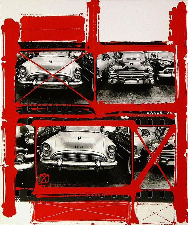 """""""The idea for the colour and graphics comes from the red lines photographers put around their choices on a contact sheet."""" W.K. William Klein 'painted contact' series silver gelatin print with paint,"""