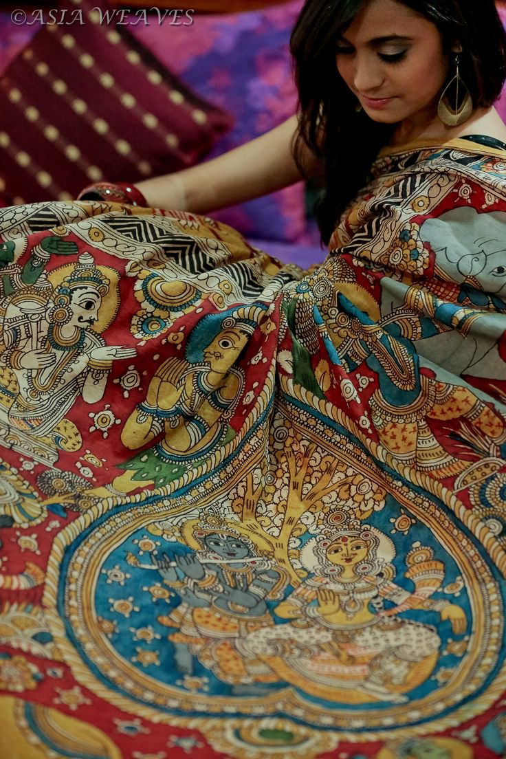 A hand painted kalamkari cotton saree using vegetable dyes from Asia Weaves on Facebook