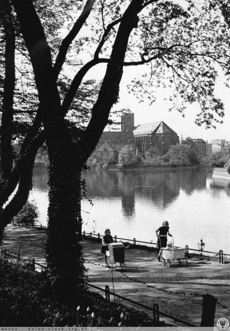 Wyspa Piasek i spacerek z dziećmi.  Lata 1925-1940