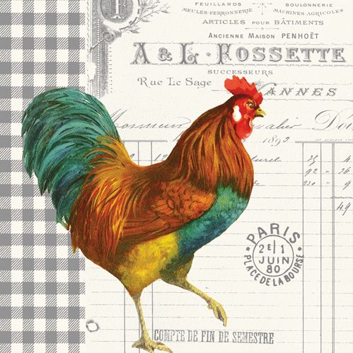 'French Rooster' beverage napkin by PPD.