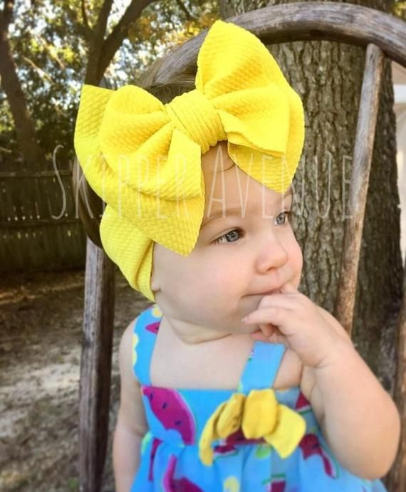 CANARY YELLOW, Big Bow Headbands, Stretchy and Soft, Head Wrap Style Head Band, No Tie Headwraps, for Preemie, Newborn, Baby, Toddler, Girls   – Products