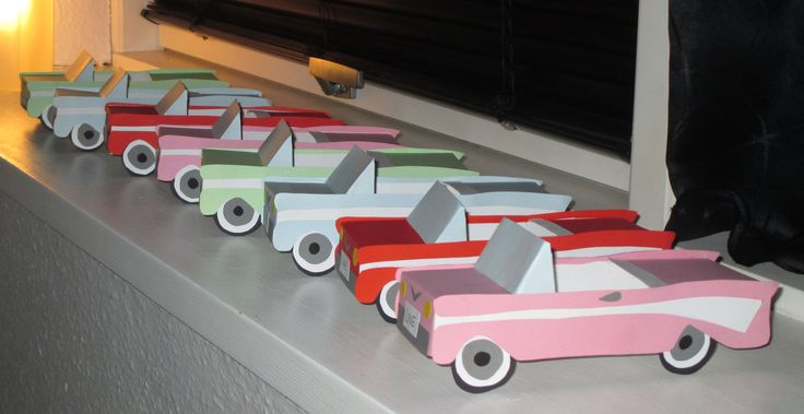 All of my little homemade cars. I think they turned out so great