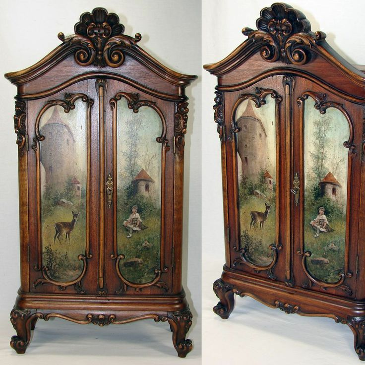 RARE Antique Black Forest Carved Hunt Themed Miniature Armoire, Hunt Them  Oil Painting Doors - 187 Best Antique Dolls And Their Furnishings Images On Pinterest