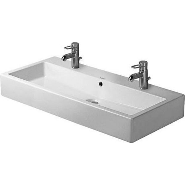 Duravit 39.375-inch Vero White 2 Tap Hole Washbasin with Overflow - Overstock™ Shopping - Great Deals on Bathroom Sinks