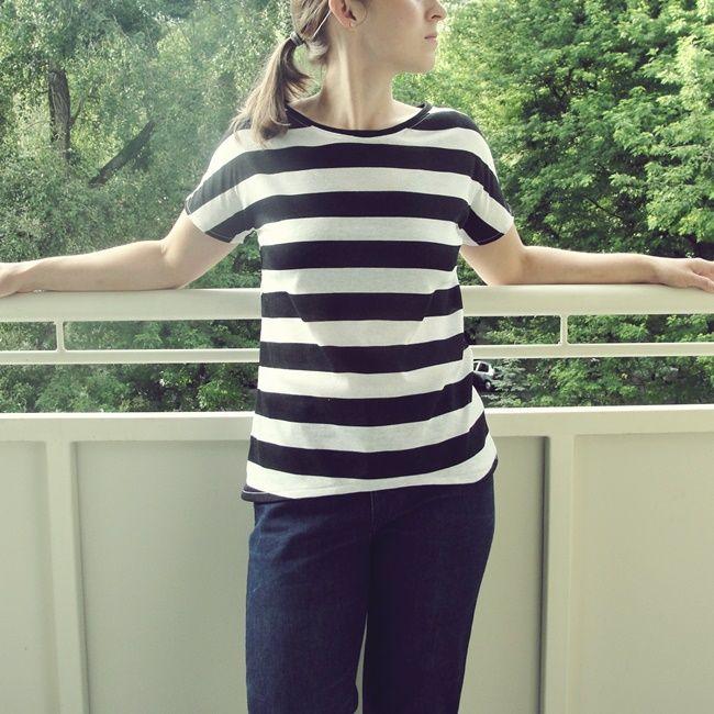 #black&white #freepattern #sewing #top #stripes