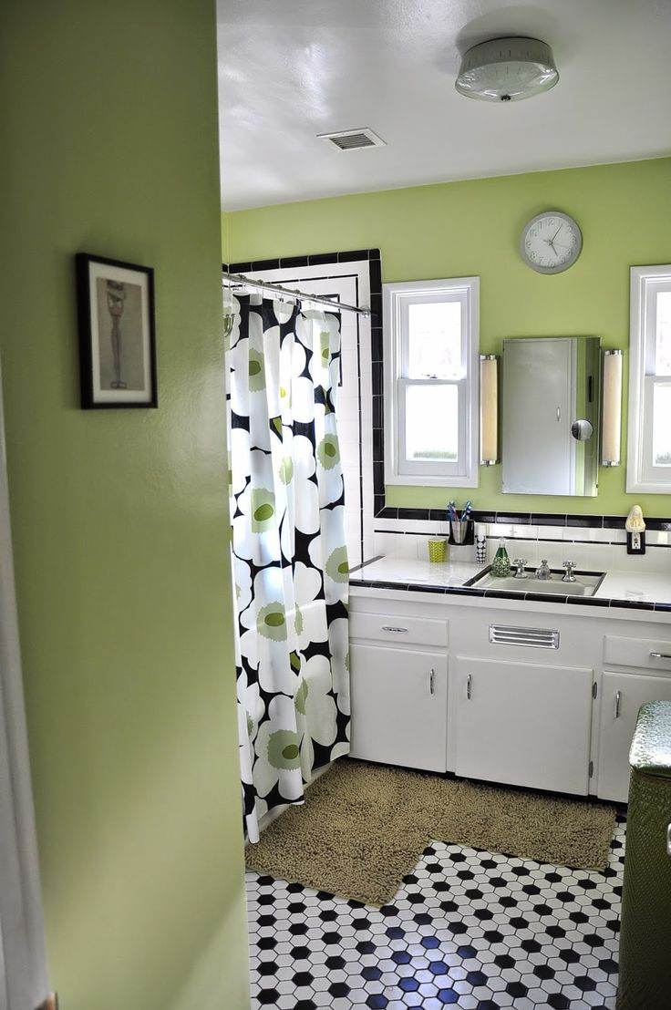 Attractive Black And White Tile Bathroom Part 1   Black And White Tile  Bathrooms   Done 6 Different Ways   Retro40 best Small retro inspired bathroom images on Pinterest  . Tile Bathroom Remodeling Part 1. Home Design Ideas