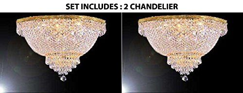 "Set of 2 - French Empire Crystal Semi Flush Chandelier Chandeliers Lighting H18"" X W24"""