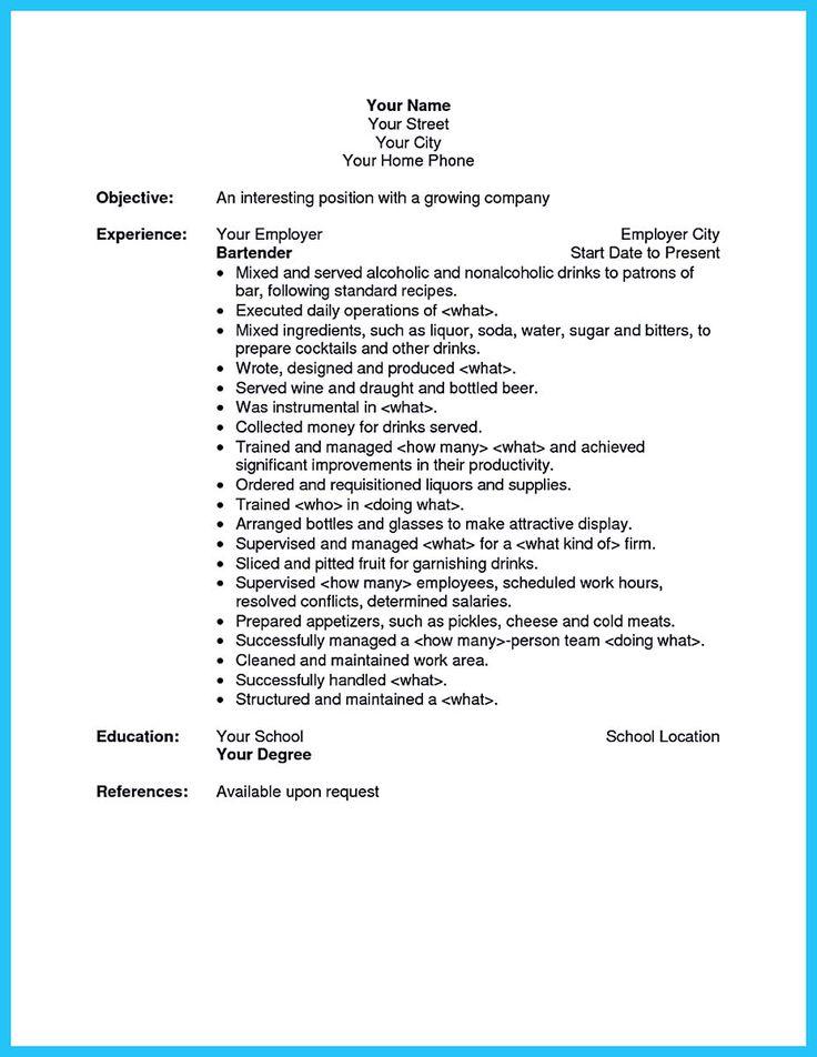 waitress resume description best 25 cv examples for students - Waitress Skills Description