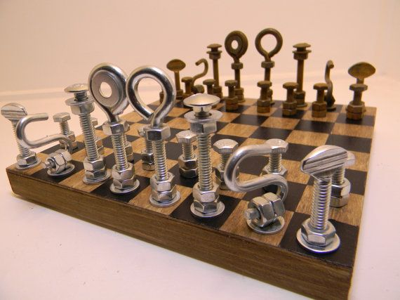 Hardware Chess Set by RambutanRed on Etsy. Chess has never looked so badass.