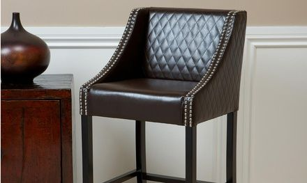 Filton Bonded Leather Quilted Barstool Upholstered Bar Stools Bar Stools Leather Bar Stools