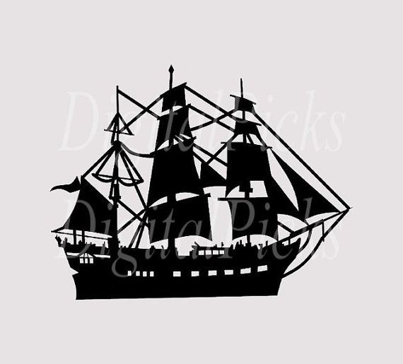 Ship Silhouette Digital Clip Art PNG by DigitalPicks on Etsy, $1.69