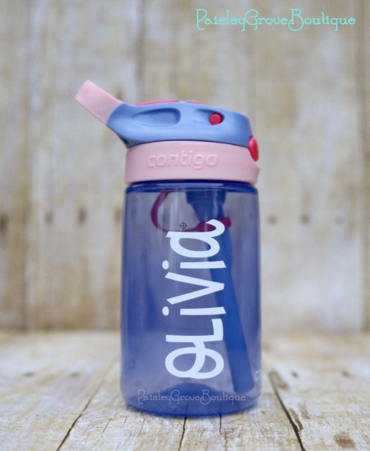 $10, Personalized Kid's Water Bottle, Contigo Kids, Personalized Contigo, kids and toddler's, purple bottle, girl's bottle, personalized bottle by PaisleyGroveBoutique on Etsy