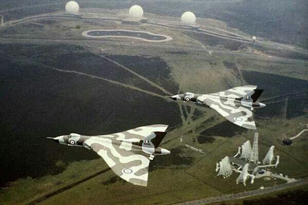 Cold War; Avro Vulcans flying over RAF Fylingdales.
