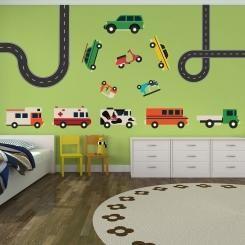 Kit Cameretta Cars and Vans Auto e Furgoncini Wall Sticker Adesivo da Muro Componibile
