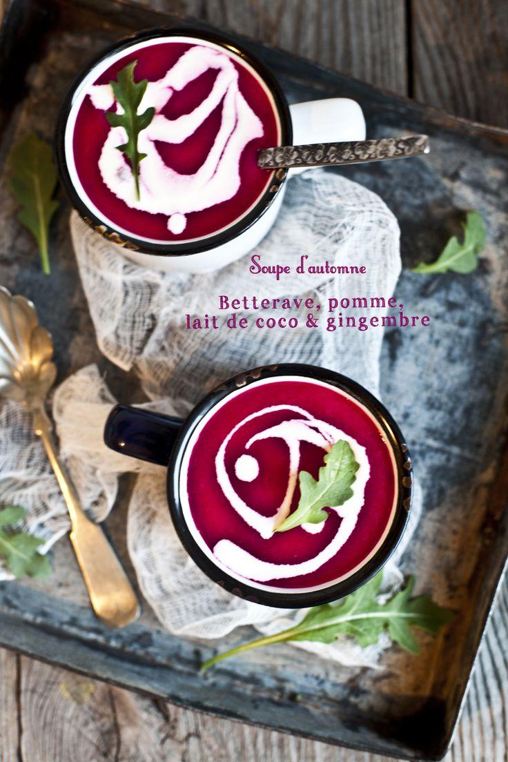 L'Automne: Soupe betterave, pomme, lait de coco & gingembre http://emiliemurmure.com/lautomne-soupe-betterave-pomme-lait-de-coco-gingembre/
