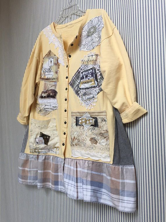 687af57f7e1f Upcycled Romantic Art Jacket Paris France Eiffel Tower Appliqué Butter  Yellow Spring Cotton Cardigan Artsy … | Shabby chic Upcycled Refashioned  clothes ...
