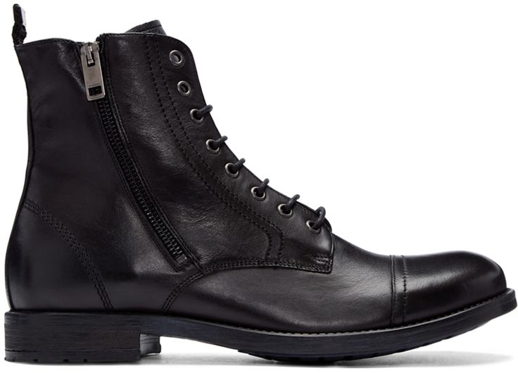 DIESEL Black Leather D-Kallien Boots. #diesel #shoes #boots