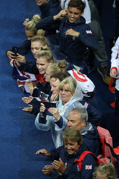 #RIO2016 Members of Team Great Britain wait to congratulate gold medalists Jack Laugher and Chris Mears of Great Britain during the medal ceremony for the...