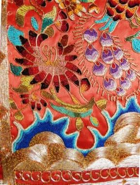 Detail of Minangkabau, West Sumatra, finely embroidery scarf, floral motif