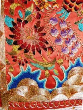 Detail of Minangkabau, West Sumatra, finely embroidery scarf, floral motif