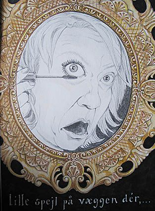 Mirror mirror on the wall; why do you always look so stupid while putting on mascara ...Drawing - pencil and crayon 1995