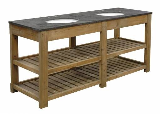 Bluestone Top Dual Vanity Sink With Two Shelves Of Slatted Natural Wood  With 3 Fixture Openings
