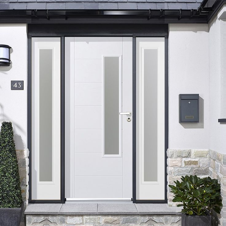 GRP White Newbury Glazed Composite Door with Two Sidelights #externaldoor #frontdoor #entrance