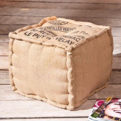 Pouf Lentille fabriqué à la main avec des matériaux de récupération : en le choisissant, vous achetez une pièce unique !
