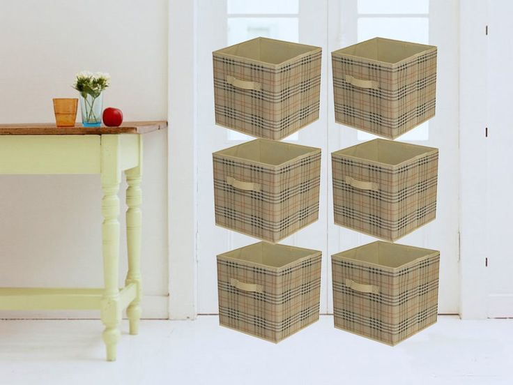 6 Piece Home Storage Bin Organizer Fabric Cube Box Basket Beige Drawer Container #Shonpy