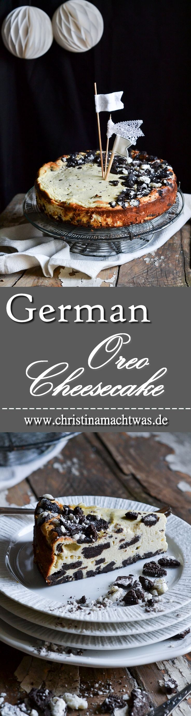 Leckerer deutscher Käsekuchen aus Quark mit dem amerikanischen Klassiker Oreo ergibt einen unwiderstehlichen Kuchen mit