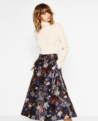 Image 5 of PRINTED LEATHER EFFECT SKIRT from Zara