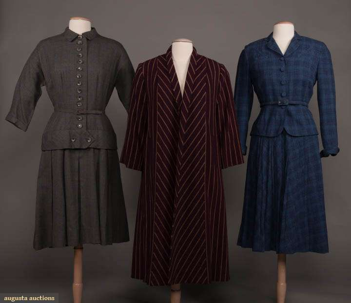Up For Auction March 28 2020 Historic Fashion Online Bellows Falls 1 Grey Plaid Drop W Dress W Cf Button Closure To In 2020 Textiles Fashion Suits For Women Fashion