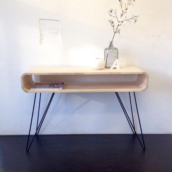 Metro sofa table, with untreated rubber wood, available in 3 colors | Metro wand tafel, met onbehandeld rubberhout leverbaar in 3 kleuren. http://www.tafel-design.nl/Metro-wandtafel-p-16420.html