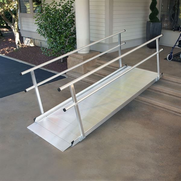 Gateway ramps are the perfect solution for temporary or semi-permanent access. An extra wide 36 inch width and the built in traction surface make these aluminum wheelchair ramps ideal for use with scooters, walkers, wheelchairs, canes, and crutches. Available with handrails constructed from heavy duty welded aluminum.