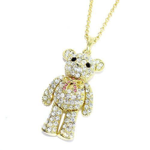 """Rhinestone Teddy Bear Pendant Necklace; 18""""L With 1.25""""L Pendant; Gold Metal; Clear, Pink, And Black Rhinestones; Jointed Arms And Legs; Lobster Clasp Closure Eileen's Collection. $24.99"""